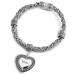 Rope Bracelet with Engravable Heart Charm