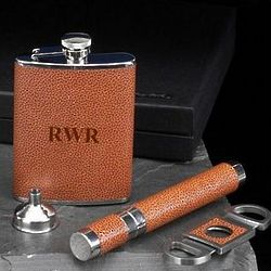 Personalized Three Piece Brown Leather Cigar and Flask Set