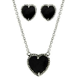 Designer Inspired Onyx Heart Earring And Necklace Set