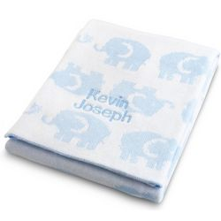 Blue Elephant Knit Blanket