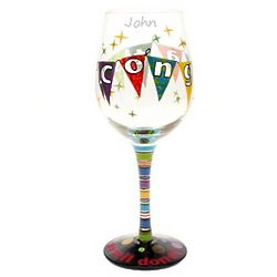 Congrats Hand Painted Wine Glass