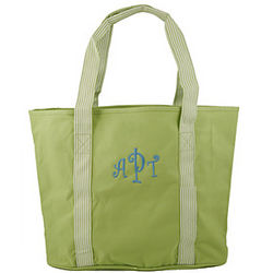 Personalized Striped Handles Lime Tote