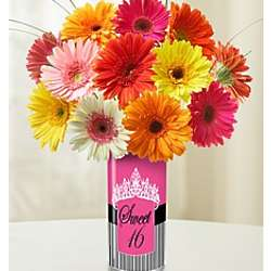 Sweet 16 Vase with Assorted Daisies or Roses Bouquet