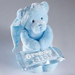 Personalized Blue Musical Plush Bear