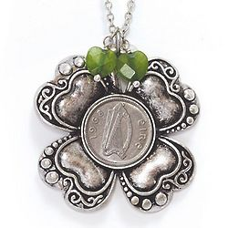 Irish Threepence Four Leaf Clover and Green Heart Charms Pendant