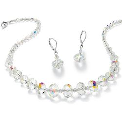 Oval-Cut Aurora Borealis Crystal Necklace and Earrings Set