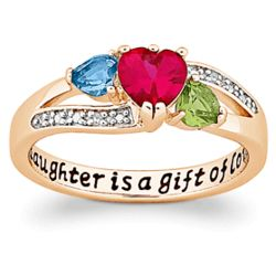 A Daughter is a Gift Gold-Plated Birthstone Heart Ring