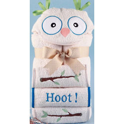 Personalized Owl Hooded Baby Towel with Blue Trim
