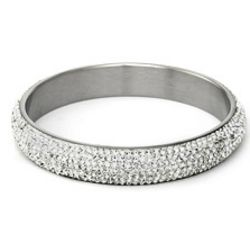 Glamorous White Swarovski Crystal Pave Bangle