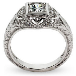 Deco Style Sterling Silver and Cubic Zirconia Engagement Ring