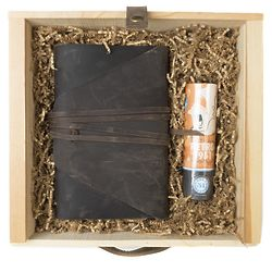 Revere Messenger Leather Journal and Pen Gift Set