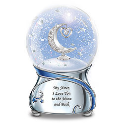 Sister, I Love You to the Moon and Back Musical Glitter Globe