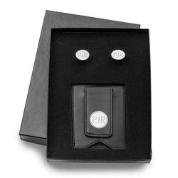 Personalized Modern Oval Cufflinks and Wallet in Black Leather