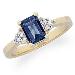 Emerald-Cut Genuine Sapphire & Crystal Accent Ring