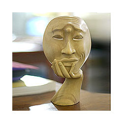 'Man in Thought I' Wood Sculpture