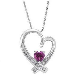 Heart-Shaped Rhodolite Garnet Necklace with Diamond Accents