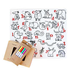 Alphabet Animals Placemat Coloring Set