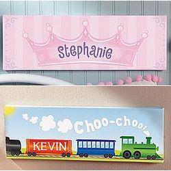 Personalized Crown and Train Art Canvas