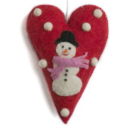 Felted Wool Heart with Snowman Ornament