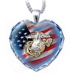 Military Crystal Heart Necklace