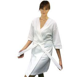 Women's Kimono Style Knit Houndstooth Lightweight Short Bathrobe
