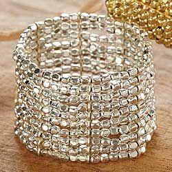 Cleopatra Cuff in Silver Plated Beads