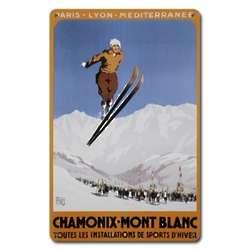 Chamonix-Mont Blanc Metal Ski Sign