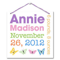 Personalized Baby Girl Announcement Wall Hanging
