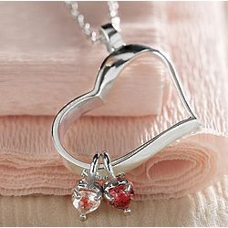 Heart-Shaped 3-Stone Birthstone Necklace