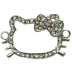 Rhinestone Kitty Head Outline Bracelet Charm