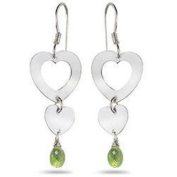 Peridot Heart Earrings in Sterling Silver