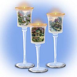 Thomas Kinkade Garden of Elegance Glass Stem Candleholders
