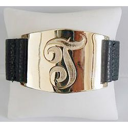 Hand Engraved Single Initial Leather Cuff Bracelet