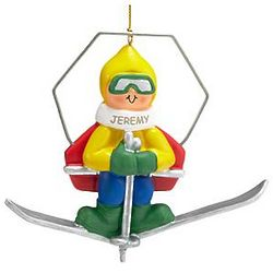 Personalized Male Skier on Lift Ornament