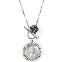 Lucky British Sixpence and Rose Silvertone Toggle Pendant