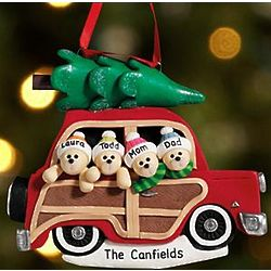 Bear Couple Personalized Woody Wagon Ornament