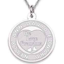 Silvertone We Love Grandma Engraved Pendant