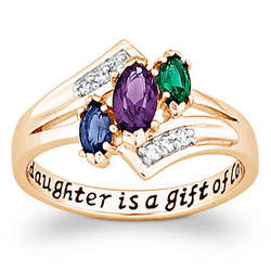 Daughter's Gold-Plated Marquise Birthstone Ring