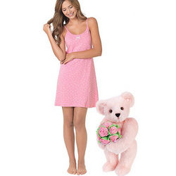 Pink Bouquet Teddy Bear and XS Pink Chemise Gift Set