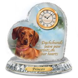 Linda Picken Dachshund Crystal Clock with Dog's Name