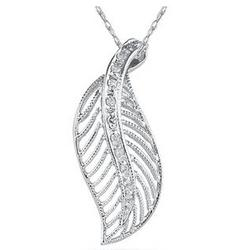 Diamond and Gold Leaf Pendant in 14K White Gold