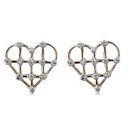 Diamond Prong 14K White Gold Open Heart Earrings