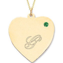 14k Yellow Gold Emerald Engraveable Heart Pendant