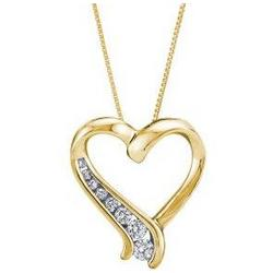 10k Yellow Gold Graduated Round Diamond Heart-Shaped Necklace