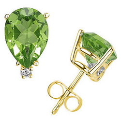 Pear Peridot and Diamond Stud Earrings in 14K Yellow Gold