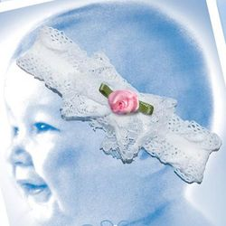 Baby's Baptism Headband with Pink Rose