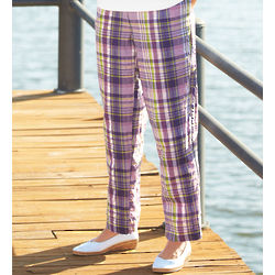 Textured Seersucker Plaid Pants