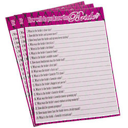 Do You Know The Bride? Activity Sheets
