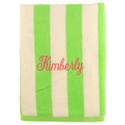 Personalized Lime and White Striped Cabana Beach Towel