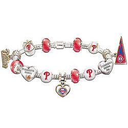 Philadelphia Phillies Charm Bracelet with Swarovski Crystals